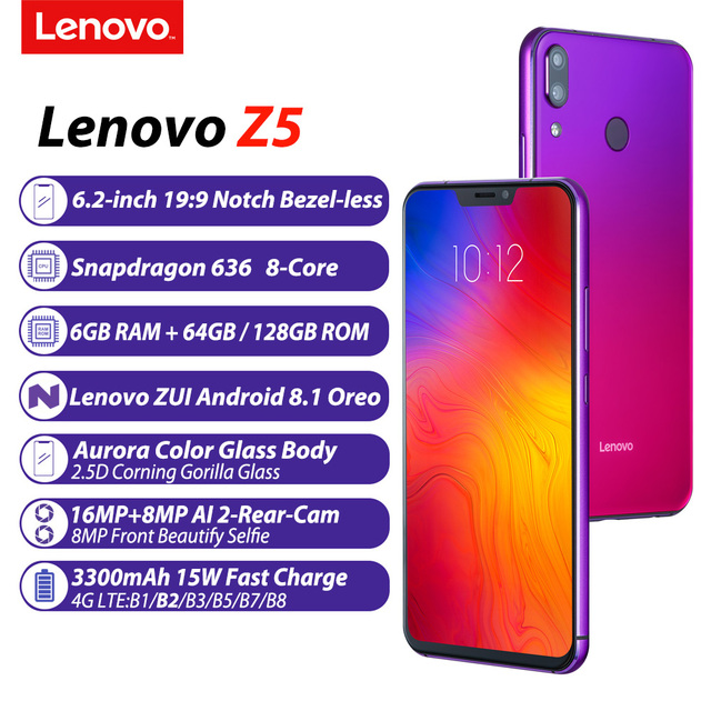 "Lenovo Z5 6GB 64GB Snapdragon 636 Octa Core Mobile Phone 19:9 Full Screen 6.2"" Android 8.1 16MP+8MP Dual Rear Camera Smartphone Lenovo Phones"