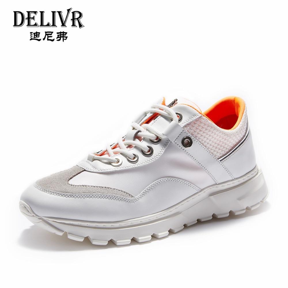Delivr Wit Sneakers Mannen Unisex Dikke Zool Ademend Gevulkaniseerd Schoenen Masculino Adulto Papa Schoenen Hoge Platform Sneakers Mannen