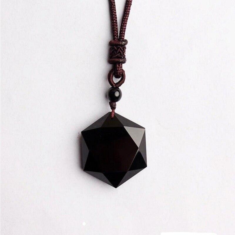 Großhandel Echte Natürliche Obsidian Stein Anhänger Sechs Sterne Anhänger Energie Stein Halskette Pullover Kette Modeschmuck