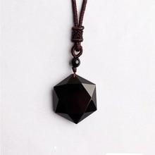 Wholesale Genuine Natural Obsidian Stone Pendants Six Stars Pendant Energy Stone Necklace Sweater Chain Fashion Jewelry