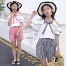 Kids Girls Trendy Clothes 10 12 Year Teen Clothing Set Ruffle Raglan Shirts + Shorts Spanish Baby Apparel