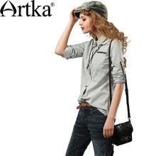 Artka женские осенние новые вышивка лоскутное универсальная рубашка Повседневная Питер Пэн воротник с длинными рукавами Удобная рубашка SA15950Q