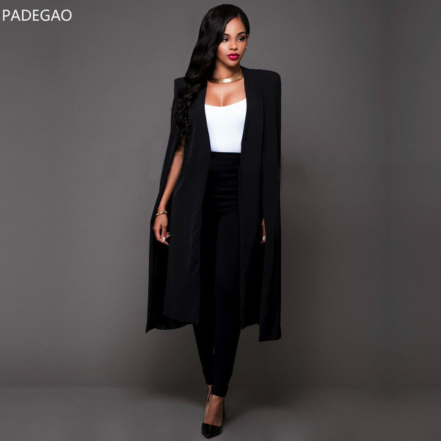 5620d3ecde86 Mode Cape Blazers Manteaux Solide Manteau OL Blazer Vestes Noir Blanc Longue  Veste Blazers Personnalité Femme
