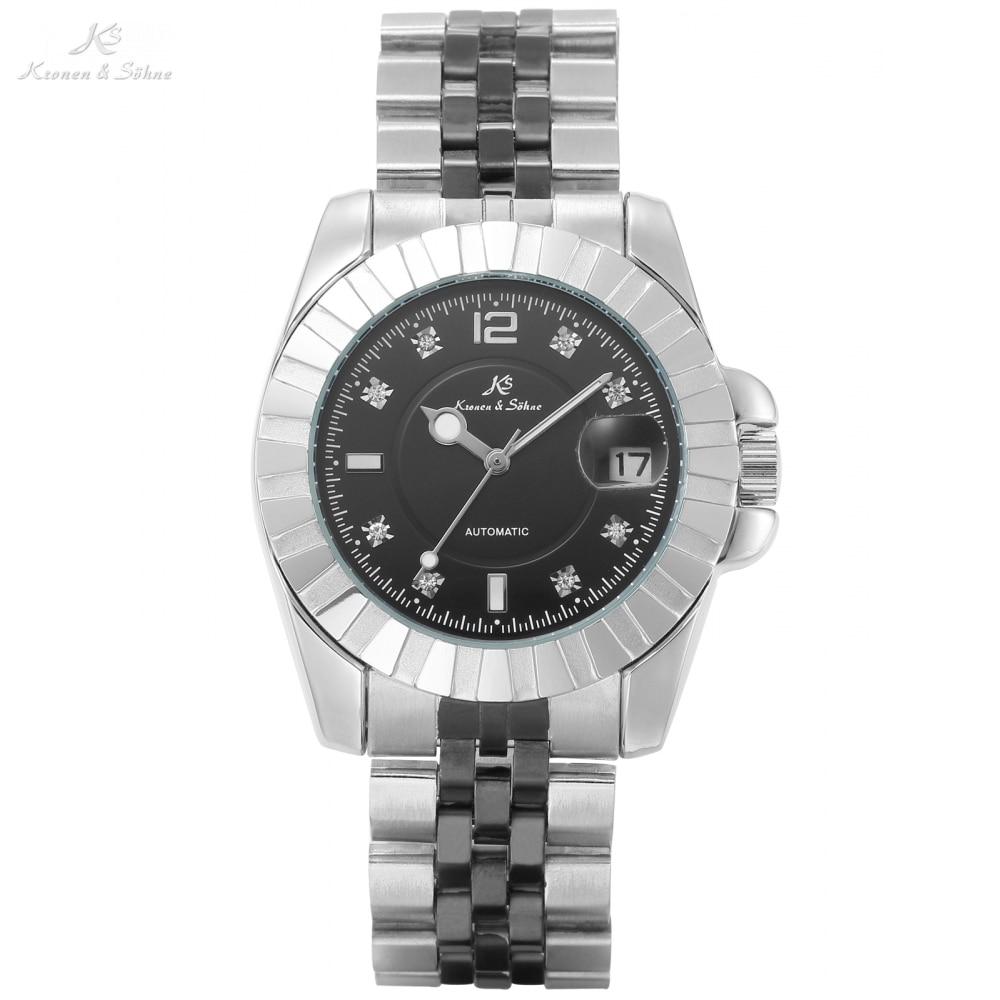 KS Brand Imperial Rhinestone Black Analog Date Steel Silver Bracelet Men Male Mechanical Automatic Masculino Wrist