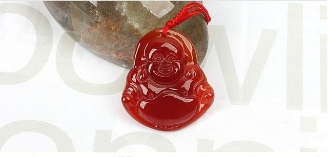 Natural red Agate stone Carved Buddhist Maitreya Buddha amulets red agate jade pendant Guan yin amulets pendants fashion jewelry