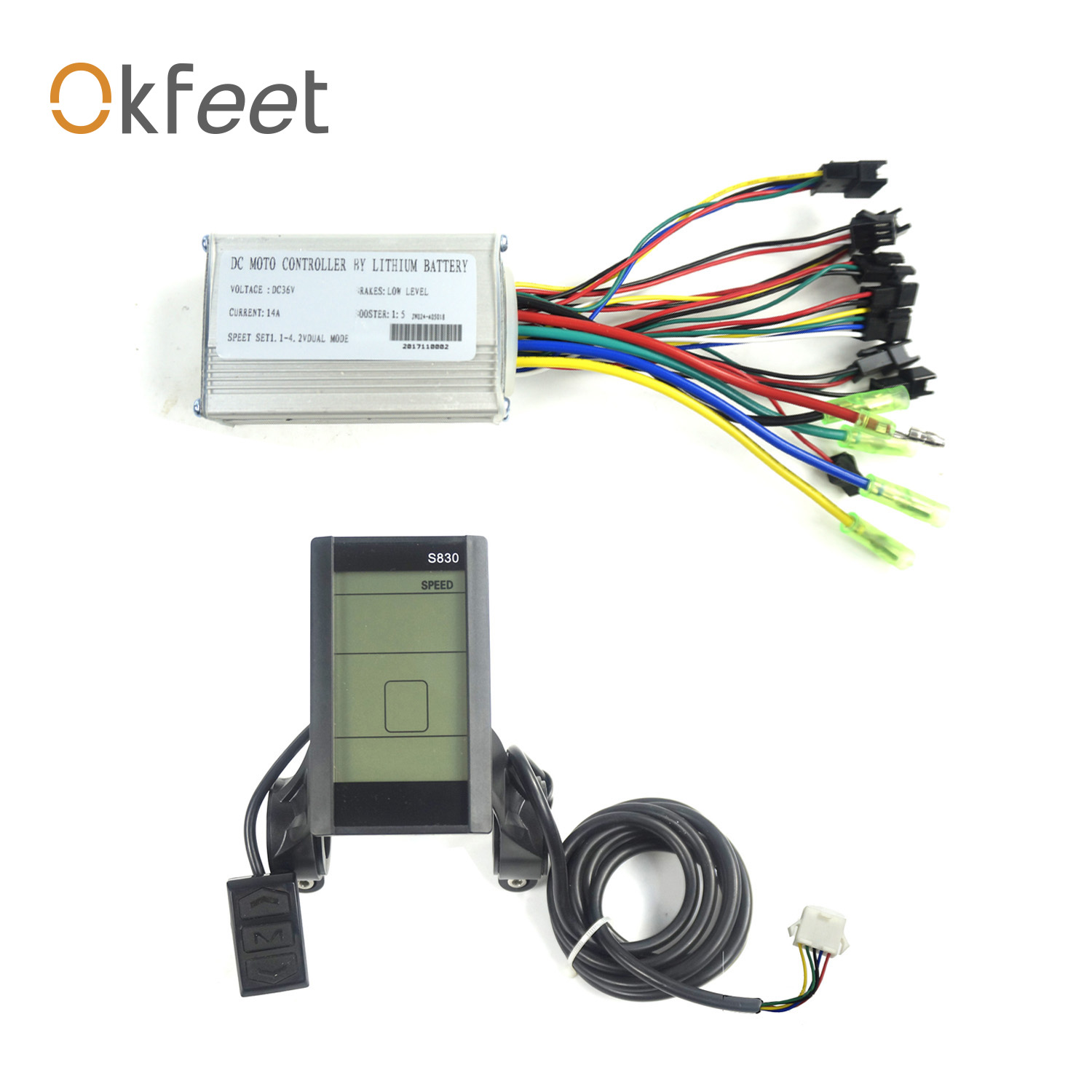 Okfeet Electric Bicycle 36V DC Hall Ebrake Sensor LCD Display 14A 6 Mosfet Brushless Controller for 250W Hub Motor|Electric Bicycle Accessories| |  - title=