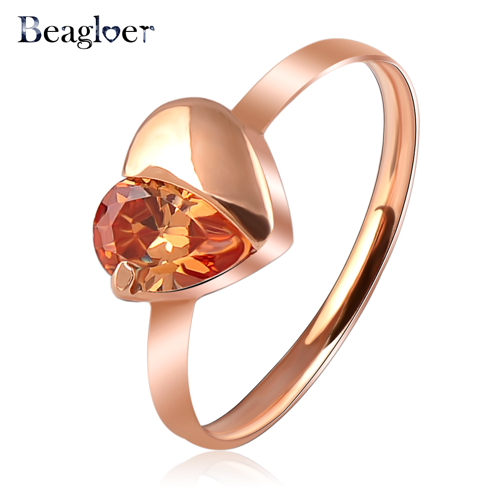Beagloer Hot Selling Love Ring Simple Rose Gold Color Austrian Crystal Heart Ring  Elements Wedding Rings Ri-HQ1080-A-2