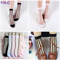 HQ 2017 Spring Summer New Women's Fashion Transparent Striped Short Socks Casual Girls Thin Sheer Mesh Ankle Socks DYY3818