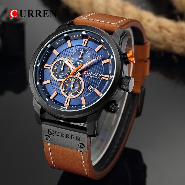 CURREN New Watches Men Luxury Brand CURREN Chronograph Men Sport Watches High Quality Leather Strap Quartz Wristwatch Relogio