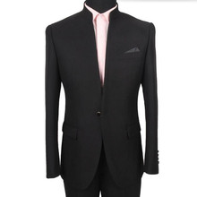 Hot sale men suits fashion Black Men's wedding mandarin collar Tuxedos Suits handsome formal prom suits(Jacket+Pants)