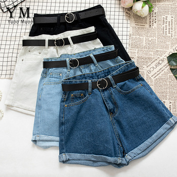 YuooMuoo All Match Sashes Casual Women Denim Shorts Crimping High Waist Slim Summer Jeans Shorts Feminino Chic Hot Ladies Bottom