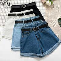 Yuoomuoo todos os match faixas casual feminino denim shorts friso cintura alta magro verão jeans shorts feminino chique quente das senhoras inferior