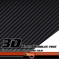 1 52x10 20 30m 3D Carbon Fiber Vinyl Film Sticker Wrap Decal Bubble Free Black For