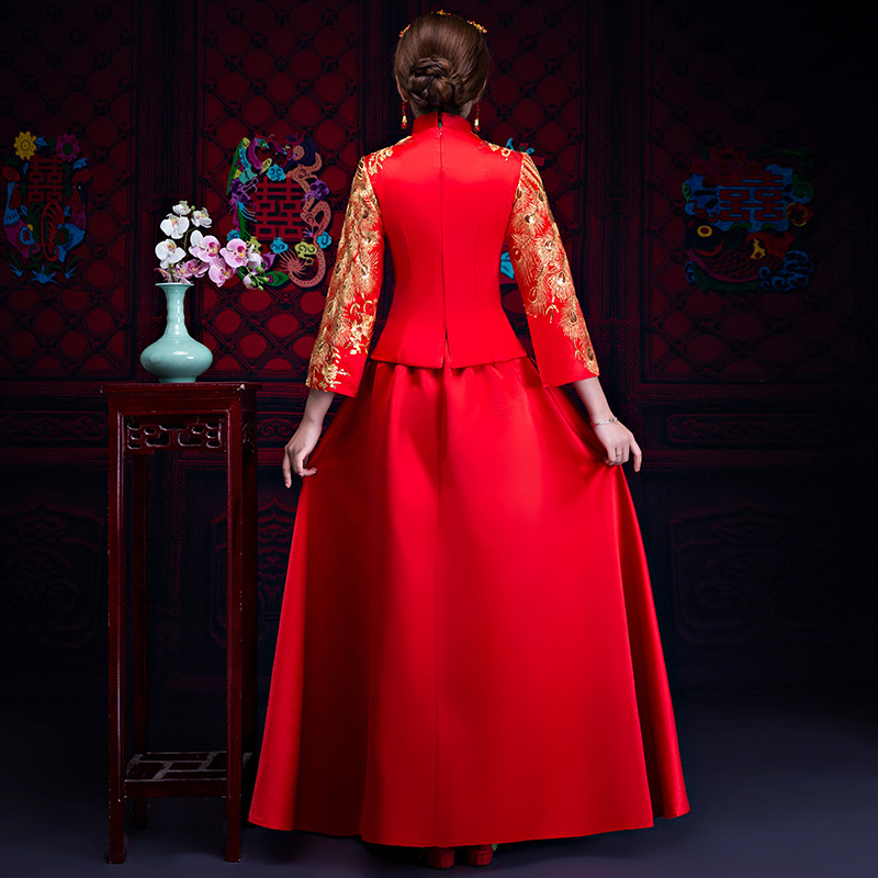 Women Traditional Chinese Gown 2019 New Long Cheongsam Wedding Dress Bridesmaid Bride Batch Loading Modern Qipao Dresses