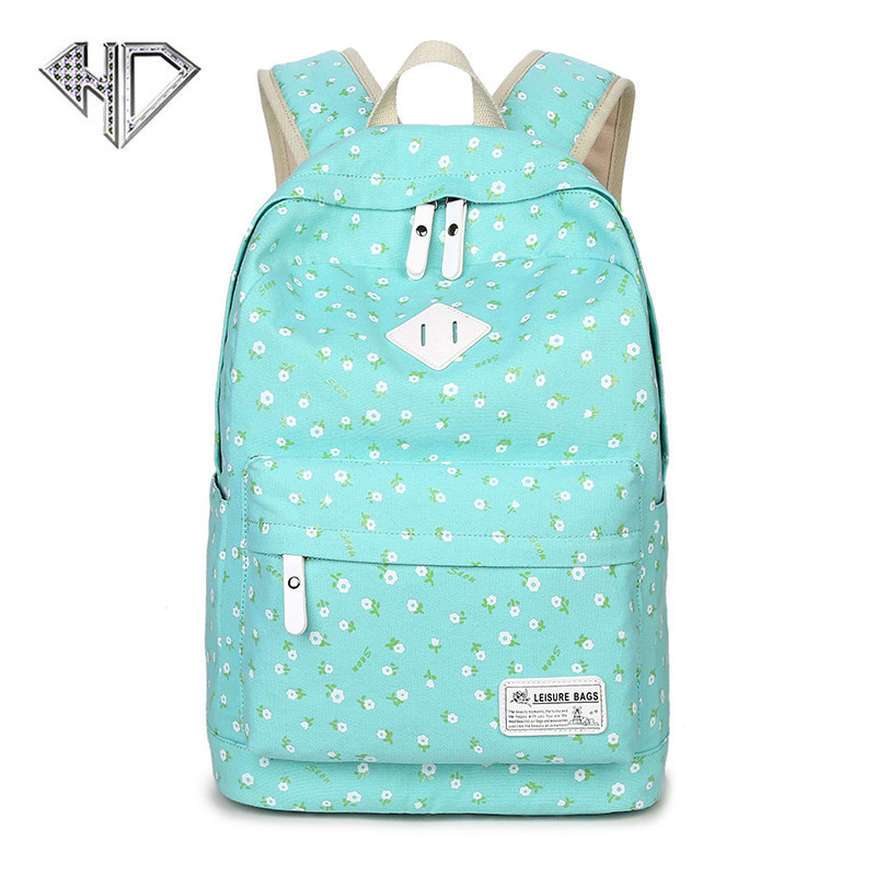 Fashion Floral Printing Canvas Backpack Women Student School Bags Large Capacity Computer Travel Bag F kpop graffiti printing backpack city night scene large capacity travel student backpack school bags rucksack backpack mochilas