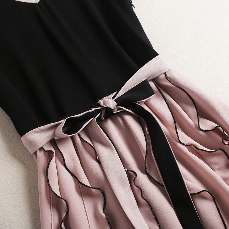 For Girls Spring-Summer High-End Womens Knitwear-Chiffon High Waist Dress Euro-American Graceful Dress with V-Collar and Belt