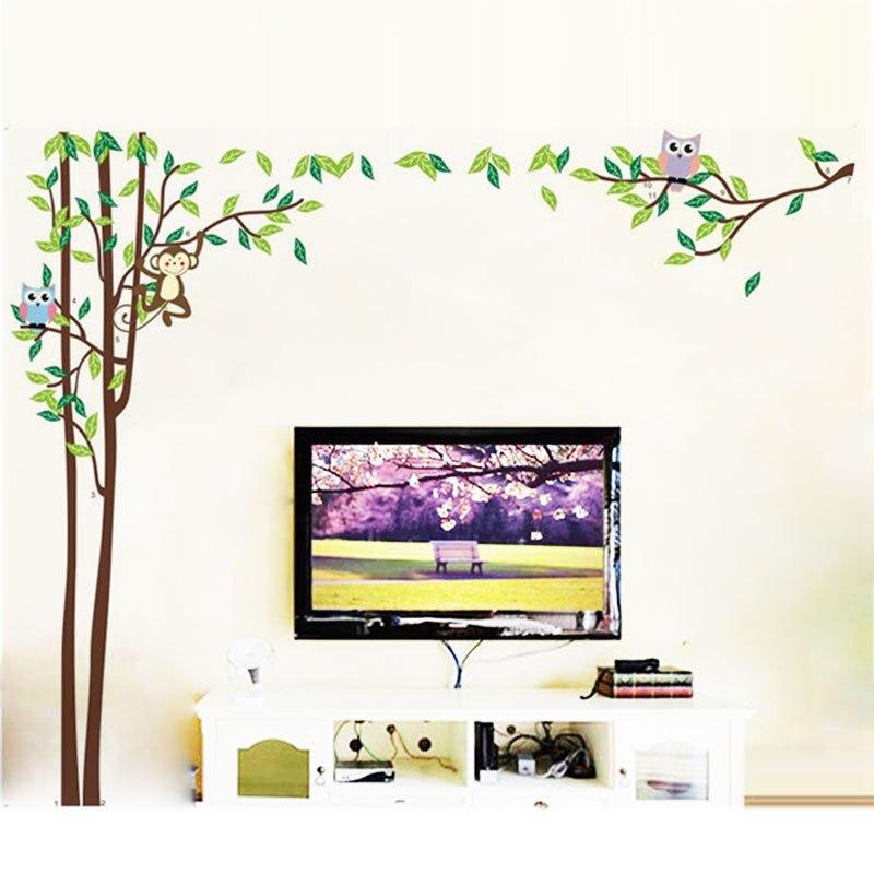 Owls Jungle Animals Wooden Bedroom Furniture Kids: Huge Jungle Owl Monkey Animal Wall Stickers TV Sofa