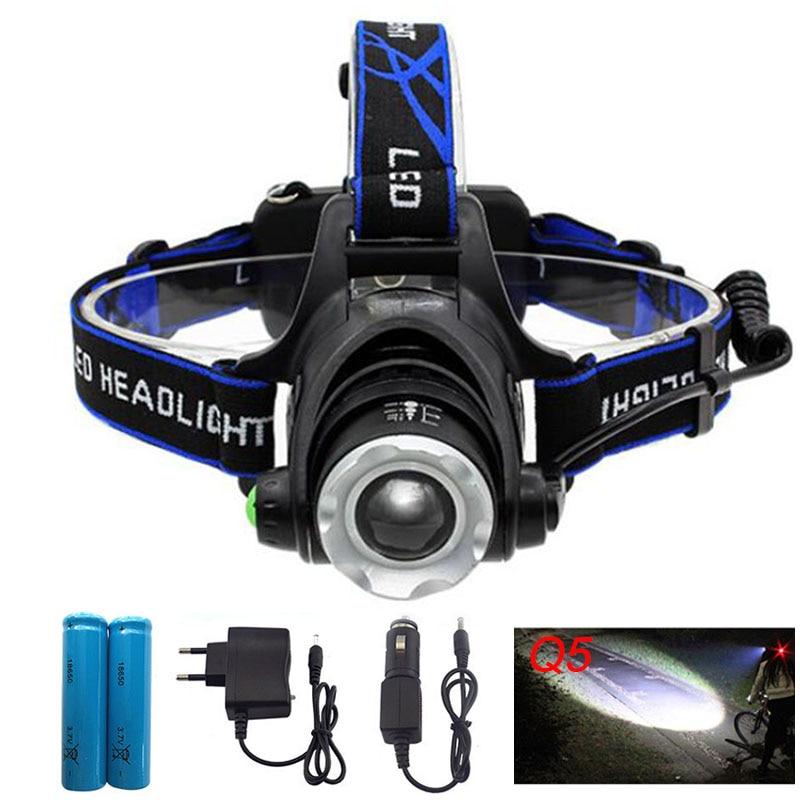 Linterna LED Q5 Lámpara de cabeza Antorcha Linterna Linterna para camping Luz de pesca recargable Linterna Cargador de CA 18650 Batería