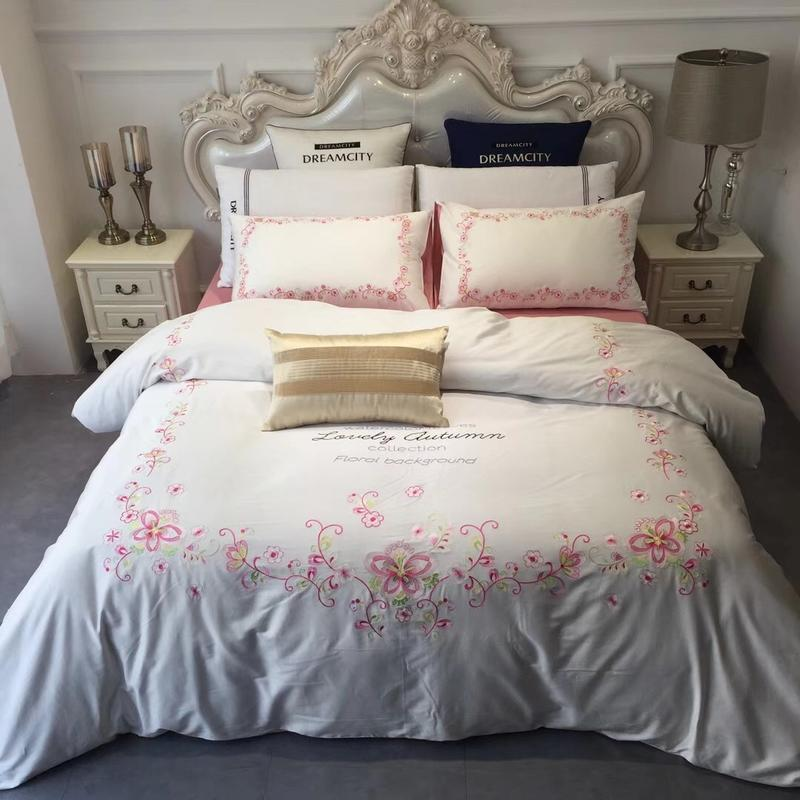 Pink White Luxury Bedding Set King Queen Size Bed Embroidery Egyptian Cotton Bedsheets Linen Duvet Cover Pillowcase In Sets From Home