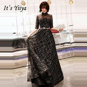 Image 2 - אונליין שמלת ערב חצי שרוול הניצוץ כחול אופנה חדשה פורמליות שמלות נשף אלגנטי רוכסן רצפת אורך נשים המפלגה שמלת E066