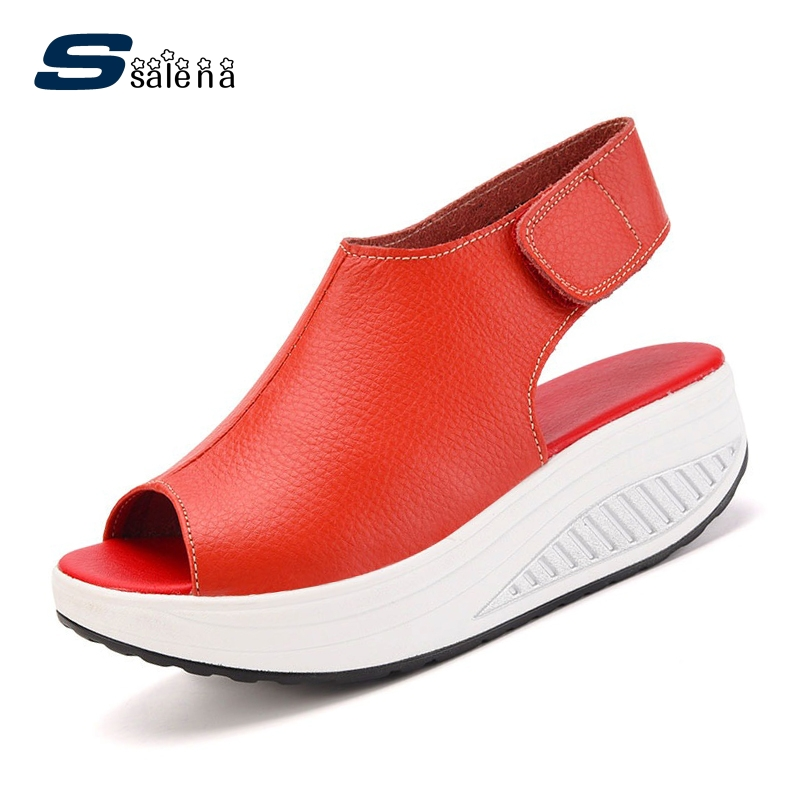 SSALENA Platform Sandals Women Soft Footwear Classic Wedge Sandals All Match Women Casual Shoes A776 esveva sexy flock thin high heel women pumps summer party pointed toe woman pumps ankle strap ladies wedding shoe size 34 43