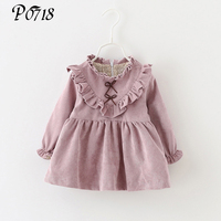 2017 New Fashion Children Dress Long Sleeve Fashion Girls Clothing Baby Costume Floral Lace Bow Winter