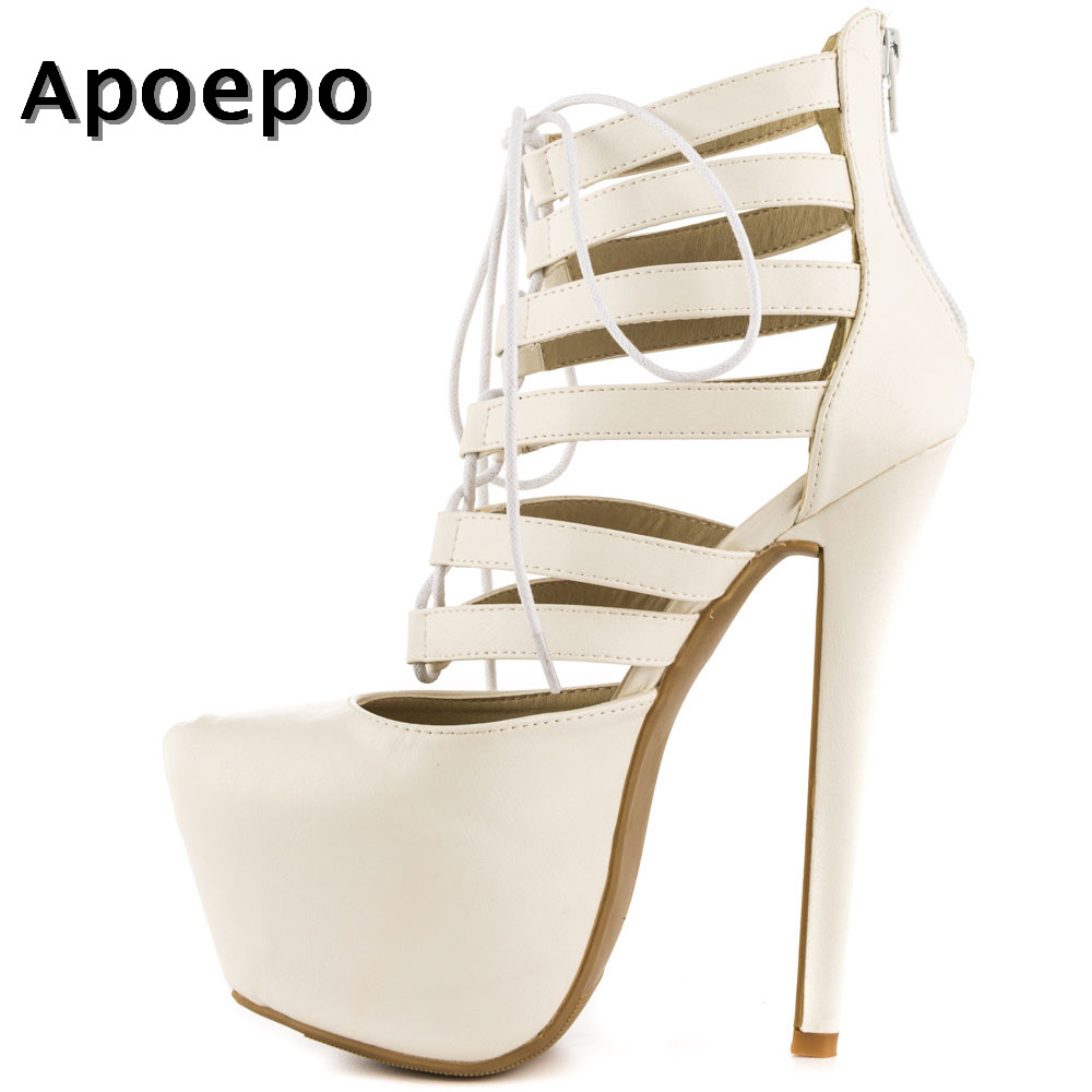 Здесь продается  Apoepo New Fashion White Pu Leather High Heel Boots Pointed Toe Super High Lace-up Ankle Boot Platform Gladiator Boots for Woman  Обувь