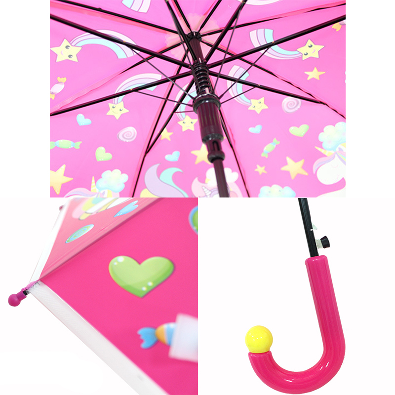 dos desenhos animados crianças guarda-chuva arco-íris guarda-chuvas semi automático dropshipp