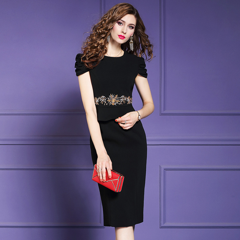 Office Lady Beading Flower dress Runway 2019 new Women ladies sexy Party Dress Plus Size floral