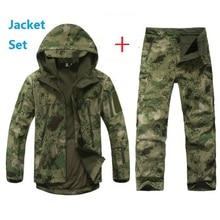 Tad softshell chaqueta con capucha set de los hombres a prueba de agua deporte camo táctico al aire libre caza clothing set pants + capucha de la chaqueta militar