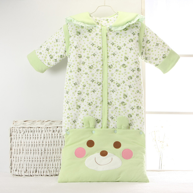 Baby sleeping bag warm air conditioning detachable sleeves lengthened cotton winter children sleeping bags thickened envelope