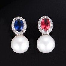 SISCATHY Hot Luxury Statement Stud Pearl Earring For Women Full Cubic Zirconia Engagement Wedding Party korean Earrings Jewelry
