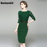 Borisovich New Arrival 2018 Summer Office Lady Style Lace O neck Elegant Women Embroidery Dress M323