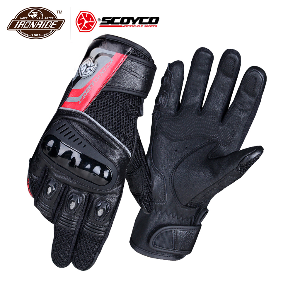 SCOYCO Motorcycle Gloves Moto Breathable Wearable Leather Racing Gloves Men Motorbike Guantes Luvas Motocross Gloves 2 Colour screen touch motorcycle gloves motorbike moto luvas motociclismo para guantes motocross 01c motociclista women men racing gloves