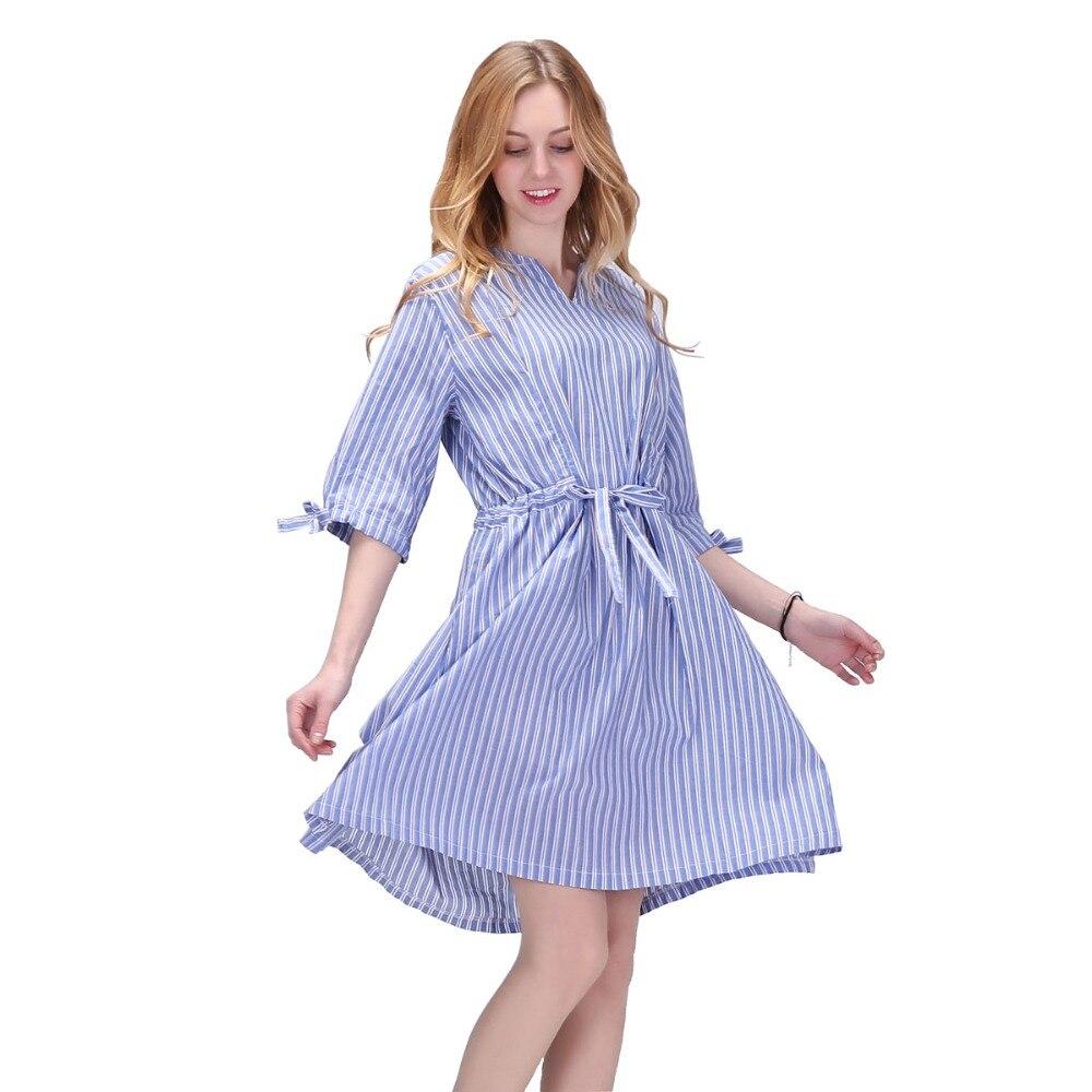 Dioufond dámské pruhované košile šaty dámské polo rukávy luk šaty bavlněné V-výstřih ženy šaty s pásem ležérní vintage vestidos 2017