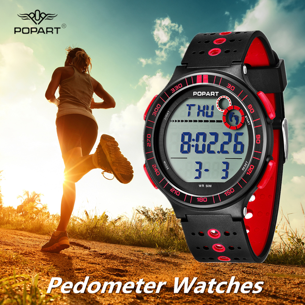 POPART Pedometer Watches Luxury Brand LED Digital Wrist Watch Men Waterproof Sport Clock Mens Wristwatch Relogio Masculino 2018POPART Pedometer Watches Luxury Brand LED Digital Wrist Watch Men Waterproof Sport Clock Mens Wristwatch Relogio Masculino 2018