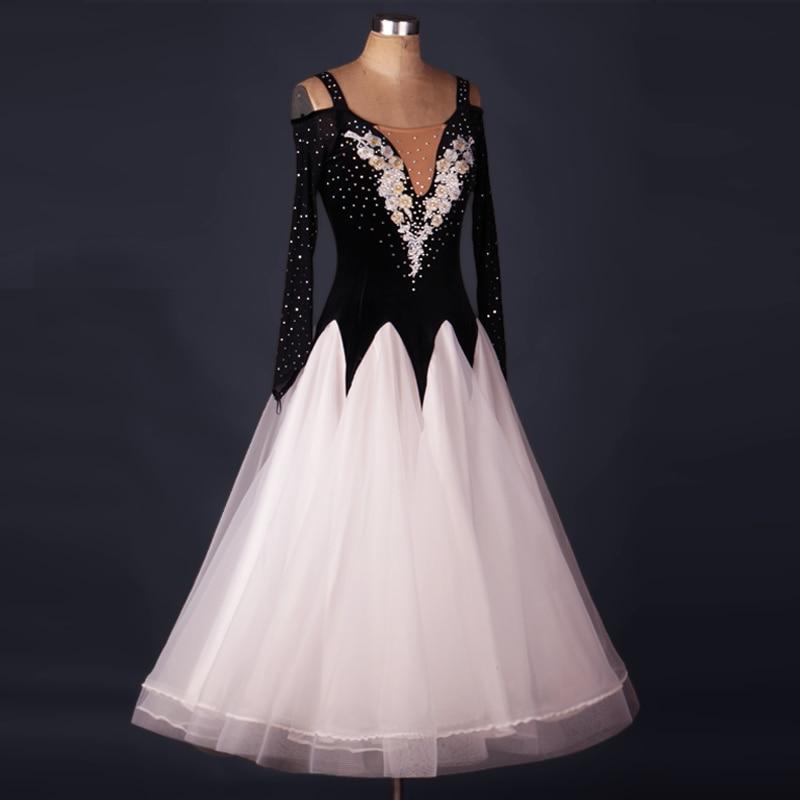 kids competition standard dress flamenco womens ballroom dance dresses long sleeve ballroom skirts black white waltz Tango