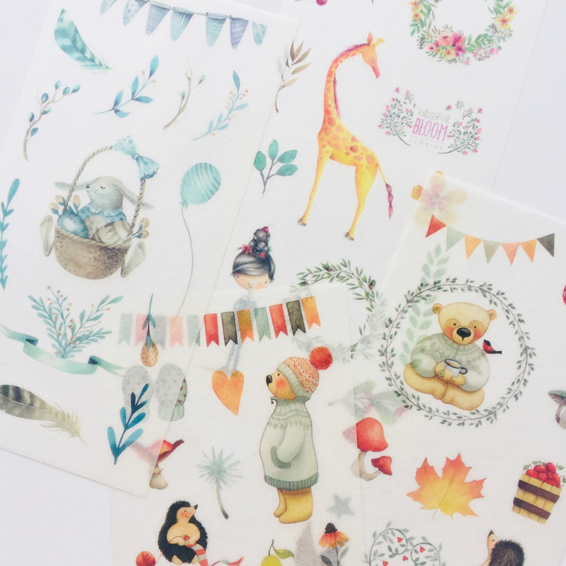 6 Sheets Zoo Giraffe Bear Rabbit  Adhesive Stickers Decorative Album Diary Stick Label Hand Account Decor