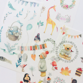 6 Sheets Zoo Giraffe Bear Rabbit  Adhesive Stickers Decorative Album Diary Stick Label Hand Account Decor - discount item  18% OFF Stationery Sticker