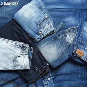 Image 3 - Simwood 洗浄スリムフィットジーンズの男性古典的なヴィンテージ高品質 2020 春春の新カジュアルストリートデニムズボン 190026