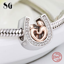 Silver 925 horseshoe CZ Charms diy Mom and son hand in hand Beads Fit Original pandora Bracelet pendant Jewelry making gifts(China)