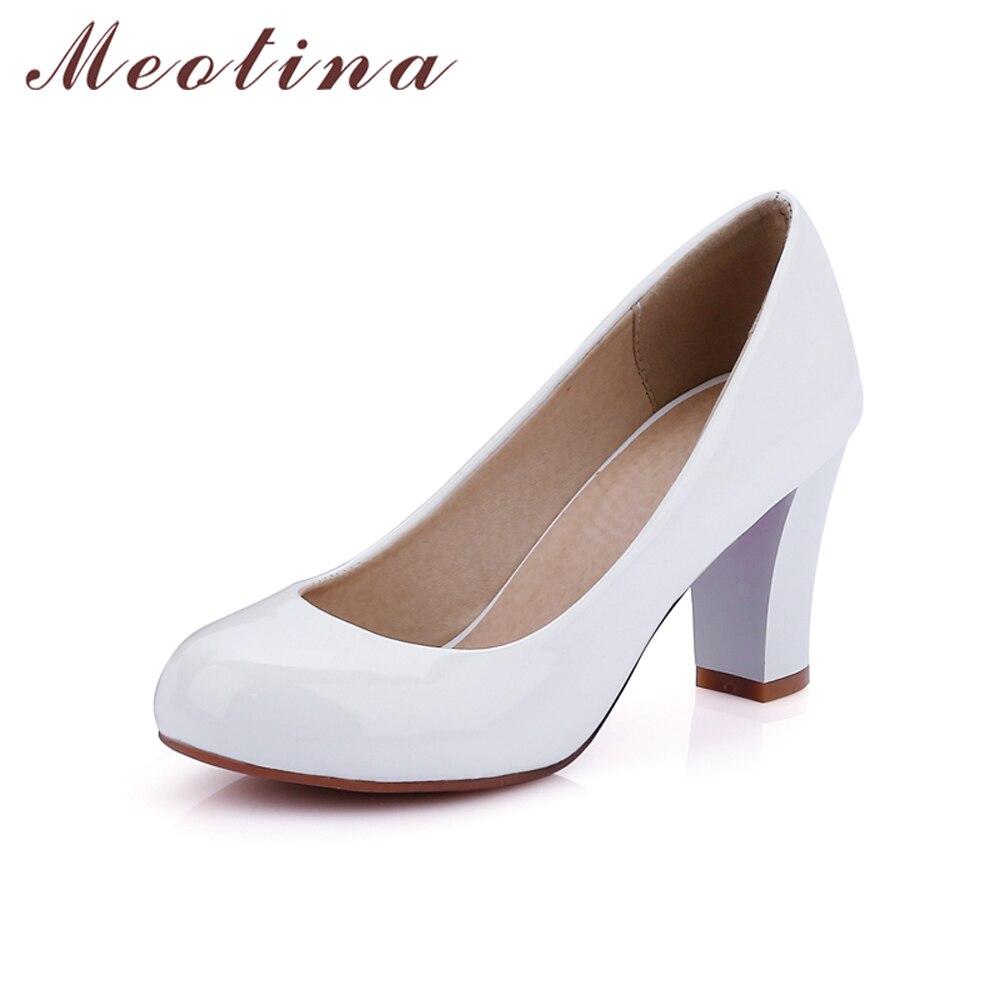 Zapatos de tacón alto de Meotina para mujer de talla grande 34 43 zapatos de  tacón cuadrado de charol de punta redonda para mujer zapatos de trabajo de  ... 291b678fbc99