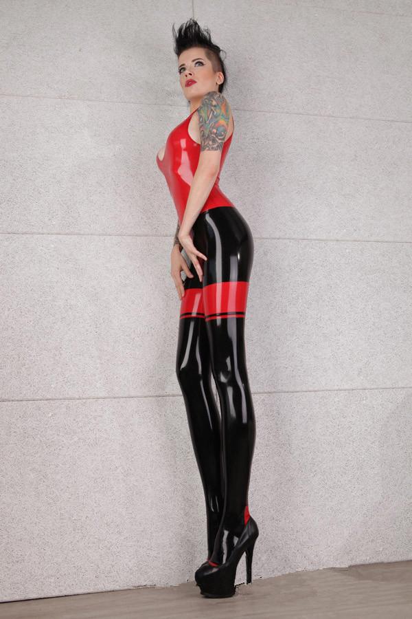 Red Black Sexy Latex Bodysuit Sleeveless for Women and Men-4