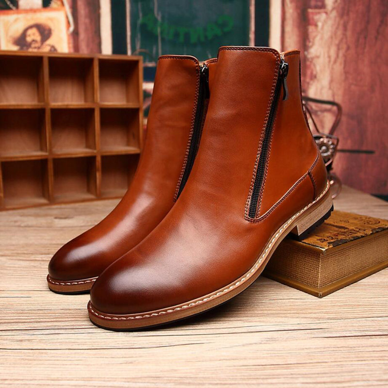 Men's Boots Slip-On Snow Boot Mens Boots Casual Leather Winter Shoes Men Black Genuine Leather Winter Shoes Men Fashion Boot New new 28 color casual boot genuine leather flats shoes shoelace shoes boot lace shoes strap shoeslaces 500pairs lot via dhl ems