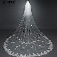 H&S BRIDAL Ivory 3M wedding veil with comb Two Layers Lace Flowers Veil voile de mariee Lace Wedding Veil Long Bridal Veil