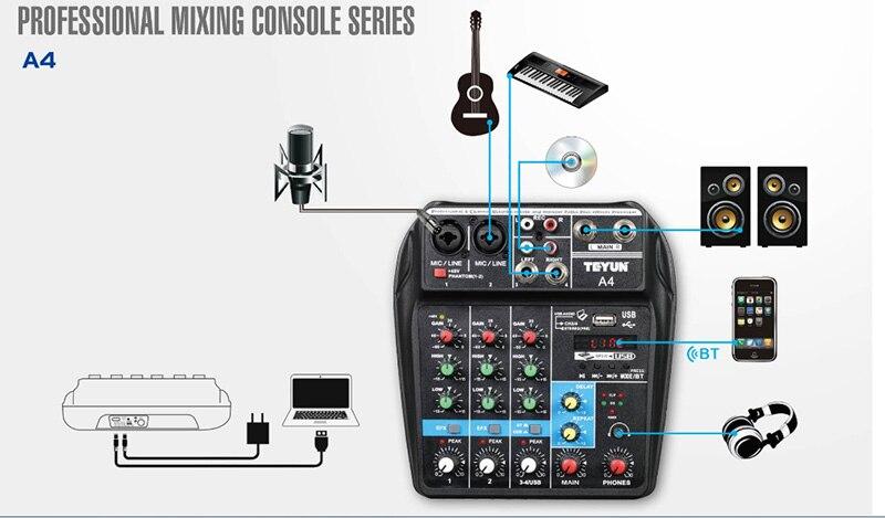 A4 микшерный пульт с Bluetooth записью мини аудио микшер с USB Профессиональный 4 канала DJ караоке KTV встречи