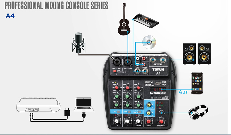 Image 2 - A4 Sound Mixing Console with Bluetooth Record Mini Audio Mixer with USB Professional 4 Channels DJ Karaoke KTV Meeting-in Stage Audio from Consumer Electronics