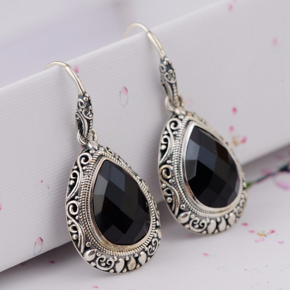 BESTLYBUY Oval Black Onyx Vintage Style 925 Sterling Silver Drop Earrings For Women Wedding Party Gifts pair of vintage faux gemstone oval water drop earrings for women