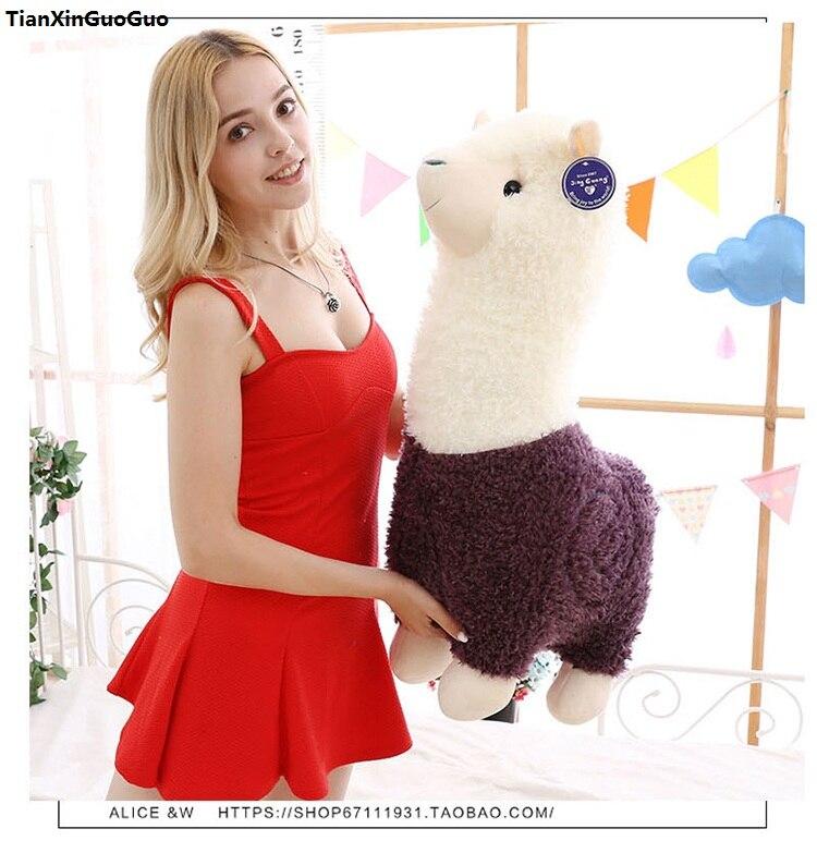 Peluche grand 65 cm violet dessin animé alpaga peluche jouet poupée douce calin oreiller cadeau d'anniversaire s1052