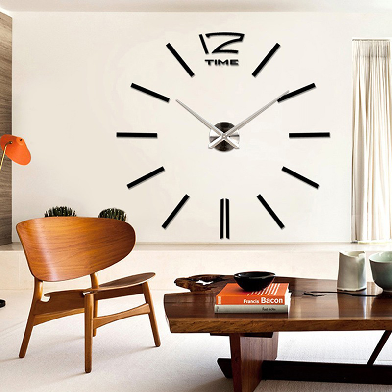 Luxury Large Number Wall Clock Modern DIY 3D Mirror Sticker Home Decor Art